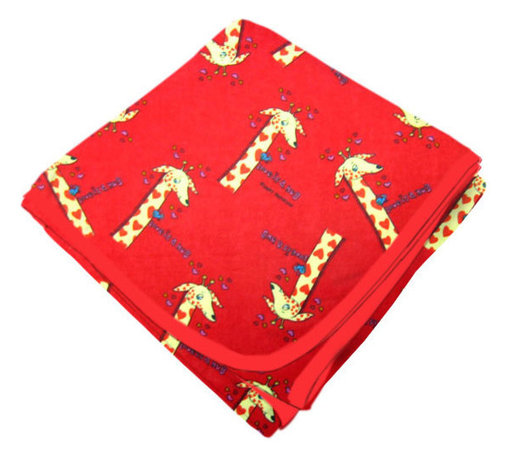SheetWorld - SheetWorld Flannel Receiving Blanket - Giraffes Red - Made in USA - Receiving Blanket is made from a double layer of the finest 100% cotton flannel material and is reversible. It's finished off with a matching cotton binding. Features the cutest giraffes print on a red background. Perfect blanket for your perfect baby. (matching sheets available)