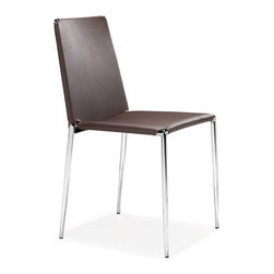 ZUO MODERN - Alex Dining Chair Espresso (set of 4) - Clean lines and shape, this chair works well in the office or in the dining room. The Alex chair stacks and is made with a soft leatherette seat and back with a chromed steel tube frame with rubber feet.