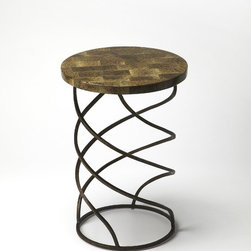 Butler - Butler Metalworks Round Accent Table - Fossil stone inlay top. Unique spring shaped metal base.