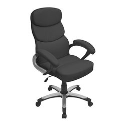 LUMISOURCE - Lumisource Doctorate Office Chair, Black - The Doctorate Office Chair earned its PHD in comfort. The thickly padded seat is covered in a soft leatherette finish. The segmented seat and back are shaped to conform to the body. The adjustable hydraulic post and 5-castor wheel base make positioning a breeze.