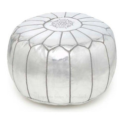 Moroccan Pouf, Silver - Rest your feet or favorite pile of books in style with a Moroccan pouf. The perfect compliment to any room, poufs add just the right amount of oomph to an interior. Available in white, black, brown, silver, turquoise, red, orange, fuchsia, gold.
