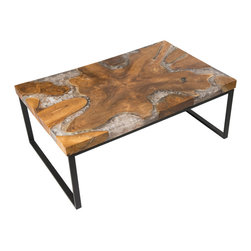 """Petrified Forests - Cracked Resin Coffee Table - Our Cracked Resin Furniture is where art and earth collide. Salvaged teak roots are molded in resin, which is then cracked to emulate quartz. No two pieces look the same, so the picture you see here is just an approximation of what you'll get. (Trust us, you'll love it.) This piece, like all of our pieces, is a completely unique piece of furniture. Coffee table with a black recycled frame and limited edition resin mold design.     Height: 18""""   Width: 47.5""""   Depth: 31.5""""    Weight: 80 lbs"""