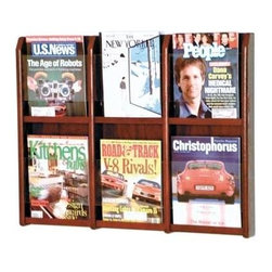 Wooden Mallet - Six-Compartment Magazine Rack w Acrylic Divid - Finish: Medium OakPre-drilled with hardware included for simple wall mounting. Furniture quality construction with solid oak uprights and clear acrylic pocket front panels. Pictured in Dark Red Mahogany. No assembly required. Optional floor stand not included. 2.875 in. D x 30 in. W x 23.875 in. H (20 lbs.). Floor Stand: 16 in. D x 2 in. W x 53 in. H (10 lbs.). 1-Year warrantyWooden Mallet's Oak & Acrylic Wall Displays will add warmth and class to your magazine and literature collection. Clear acrylic panels allow full view of literature while keeping it neat and organized. money