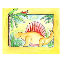 Oh How Cute Kids by Serena Bowman - Dimetrodon Chillin, Ready To Hang Canvas Kid's Wall Decor, 11 X 14 - Dimetrodon knows how to chill.  This silly, sweet picture is part of my dinosaurs series.