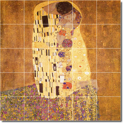 Picture-Tiles, LLC - The Kiss Tile Mural By Gustave Klimt - * MURAL SIZE: 30x30 inch tile mural using (25) 6x6 ceramic tiles-satin finish.