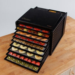 Excalibur 3900 9 Tray Deluxe Heavy Duty Family Size Food Dehydrator - Get drying space enough for the whole family, and faster results, too, with the deluxe Excalibur 3900 9 Tray Deluxe Heavy Duty Family Size Food Dehydrator. Make everything from fruit leathers and jerky to dried flowers, enough for a big family. This deluxe model includes an integrated power on-off switch and nearly indestructible polycarbonate construction. The nine 15-inch square trays are dishwasher-safe. A plexiglass door lets you check food drying at a glance. Each tray is independently removable, so you can check dryness without disturbing the other trays. The adjustable thermostat goes from 85-155°F, a range appropriate from fruit to jerky. Horizontal airflow is more even and doesn't mix food aromas, so you can dry meats and fruits in the same batch. Dimensions: 17W x 19D x 12.5H inches. A helpful 28-page dehydrating guide with over 50 recipes is included, so you'll have plenty of ideas for delicious creations! The Excalibur has a 10-year warranty.About Killer Baits Inc. / ExcaliburLocated in Sacramento, California, Killer Baits Inc. created the famous Excalibur line of dehydrators, which spans from quality home dryers to giant commercial units, all dedicated to no-fluff quality. Excalibur dehydrators have distinctive features such as horizontal air flow, which results in more even, cleaner dehydrating, and square trays that hold more items to dry. For home and business, Excalibur is the cutting edge of quality dehydrators.