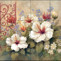 The Tile Mural Store (USA) - Tile Mural - Iron Scroll I - Kitchen Backsplash Ideas - This beautiful artwork by Vivian Flasch has been digitally reproduced for tiles and depicts a colorful flower scene.  With our enormous selection of tile murals of plants and flowers you can bring your kitchen backsplash tile project to life. A decorative tile mural with plants and flowers is an impressive kitchen backsplash idea and decorative flower tiles also work great in the bathroom. Add splashes of color and life to your tile project with images of flowers on tiles and tiles with pictures of plants.