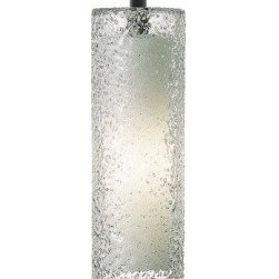 """LBL Lighting - Rock Candy pendant lamp - Products description:  The Rock Candy Cylinder linevoltage pendant lamp from LBL Lighting is designed by LBL Lighting and made in the USA.The Rock CandyCylinder line voltage pendantlamp is made fordomestic and commercial use. This fixture, s cylinder has a mount-blown transparent glass rolled in clear crystal frit and flash heated to create this unique texture.This fixture has 6feet of field-cuttable cord and is available in amethyst, clear, amber dark, smoke and steel blue colors with a bronze or satin nickel finish.                                               Manufacturer:                                           LBL Lighting                                                              Designer:                                           LBL Lighting                                                              Made  in:                                          USA                                                              Dimensions:                                           Height: 15.8"""" (40cm) X Width: 4.8"""" (12.2cm)                                                              Light bulb:                                           1X 60W B15E26 Halogen 1 X 26W GX24Q-3 Fluorescent                                                              Material                                           Metal, glass"""