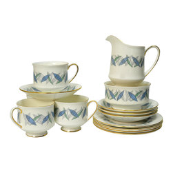 Lavish Shoestring - Consigned 4 Placements Bone China Tea Set w/ Plates Creamer & Sugar Bowl - This is a vintage one-of-a-kind item.