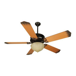 Craftmade - Sentry 52 in. Fan in Oiled Bronze - Heavy-Duty, 3 Speed Reversible Motor. 6 in. Downrod (Included). Blades and Light Kit not included. Blades Compatible with this fan are Craftmade Type 1 and Type 2. Indirect Uplight (4-25W Candelabra Bulbs Included). Number of Fan Blades: 5. Blade Pitch: 16°. Motor Size: 188 x 20mm. High Speed Amps: 0.7. RPM (Hi-Med-Low): 196-115-70. Airflow (Cubic FT/MIN): 6136. Electricity Use: 78 Watts. Airflow Efficiency (Cubic FT/Min/Watt): 78. This fan is Compatible with Craftmade Bowl Light Kits and Universal Light KitsFor the Sentry, we've kept all the features of the American Tradition and added an uplight.