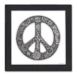 Peace Pen & Ink - The Peace Pen & Ink is a print of the original art by Pamela Corwin. The tiny intricate patterns in these works create wonderfully detailed graphic designs. Framed in a classic black frame and available in two sizes, this handsome print will fit in any room .