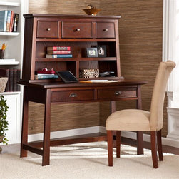 Southern Enterprises - Mendell Desk and Hutch in Espresso - Features 5 drawers and 3 open shelf compartments. Desk drawers: 16.75 in. W x 16.5 in. D x 25 in. H. Hutch drawers: 13.75 in. W x 6.25 in. D x 4 in. H (outer/middle). Hutch top shelf: 37 in. W x 7.5 in. D x 6.5 in. H. Hutch bottom shelf: 18.5 in. W x 7.5 in. D x 6.5 in. H (each compartment). Space beneath desk: 4 in. H. Espresso finish. Pewter finish hardware. Max weight capacity: 60 lb. (desk), 20 lb. (hutch). Constructed of China Red Oak, MDF, PB, and ash veneer. Assembly required. Overall Dimensions: 24.25 in. D x 46.25 in. W x 56.5 in. H (125 lbs)Elegant yet simple design makes this espresso desk with hutch the perfect solution for your home office. It offers both style and storage for productivity at its best.Tapered lines and modern angles give this desk a gorgeous look, and the rich espresso finish pairs impeccably with pewter drawer pulls to give it a cozy feel. It features five drawers for office essentials as well as three shelf compartments for decorative display. The warm finish and Eastern influences make this desk with hutch a great choice for homes with transitional to modern decor. Add this desk set to your home office or bedroom for a workstation that really works.