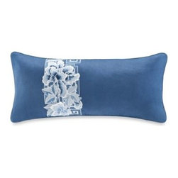 N Natori - N Natori Blue Porcelain Oblong Toss Pillow - This Blue Porcelain oblong toss pillow features lovely florals and fretwork on a beautiful blue ground that will make a wonderful accent to your bedding ensemble.
