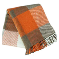 Happy Blanket - 100% Lambs Wool Plaid Throw, Orange - Wool is a natural temperature regulator, naturally hypoallergenic, naturally breathable and even improves sleep quality.