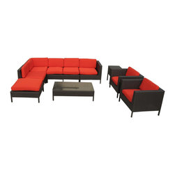 LexMod - La Jolla Outdoor Wicker Patio 9 Piece Sectional Sofa Set in Espresso with Red Cu - Shine with hidden brilliance with this powerful force of an outdoor living arrangements. Finely constructed espresso rattan seating sectionals with all-weather red fabric cushions give a sense of space and roominess that allow for true flexibility and comfort. Aim higher and give thanks and appreciation to picture perfect days spent outside.