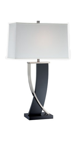 Lite Source - Lite Source Estella Contemporary Table Lamp XSL-88712 - Add elegance and sophistication to your space with Lite Source Estella Contemporary Table Lamp. An extravagant design with Polished Steel Metal Accent makes up for a stunning light that provides function and plays its part as a design object. The base with its Dark Walnut finish adds a great contrast to the Off-White Fabric shade.