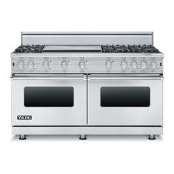 """Viking 60"""" Pro-style Gas Range, Stainless Steel Natural Gas   VGCC5606GSS - This range is essentially two of the existing 30"""" VGCC ranges in one 60"""" unit. This is the first 24"""" deep 60"""" wide all gas range we have ever offered."""