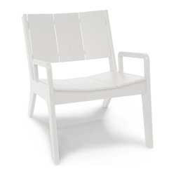 Loll Designs - No. 9 Lounge Chair, Cloud White - Designed by T.J. Thomas and Audra Bielskus of Studio Murmur for Loll. The No.9 Collection is made from 100% post-consumer waste and manufactured by Loll in Duluth, Minn. The No. 9 stays out all night and is up early to greet you for morning coffee or afternoon lollygagging. This slightly taller lounge chair and love seat are reclined nicely and the well placed arms help when getting out. Ships flat and assembly is a piece of cake.