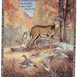 Manual - Fur, Feathers and Fall Deer and Duck Print Tapestry Throw Blanket 50 in x 60 In - This multicolored woven tapestry throw blanket is a wonderful addition to your home or cabin. Made of cotton, the blanket measures 50 inches wide, 60 inches long, and has approximately 1 1/2 inches of fringe around the border. The blanket features a print of a buck and three flying mallard ducks in the forest in autumn. Printed in the top left is 'As the deer pants for streams of water, so my soul pants for you, O God: Psalms 42:1'. Care instructions are to machine wash in cold water on a delicate cycle, tumble dry on low heat, wash with dark colors separately, and do not bleach. This comfy blanket makes a great housewarming gift that is sure to be loved.