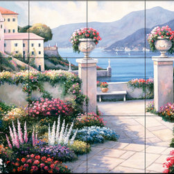 The Tile Mural Store (USA) - Tile Mural - Mediterranean Scene B - Kitchen Backsplash Ideas - This beautiful artwork by John Zaccheo has been digitally reproduced for tiles and depicts a colorful waterview scene.  Waterview tile murals are great as part of your kitchen backsplash tile project or your tub and shower surround bathroom tile project. Water view images on tiles such as tiles with beach scenes and Mediterranean scenes on tiles Tuscan tile scenes add a unique element to your tiling project and are a great kitchen backsplash idea. Use one or two of our landscape tile murals for a wall tile project in any room in your home for your wall tile project.