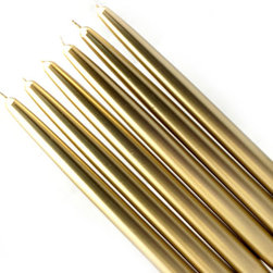 """Jeco - 10"""" Metallic Gold Taper Candles-1 Dozen - Elegant taper candles add sophistication to any party. We make our unscented tapers in a wide variety of vivid colors, sure to coordinate with your dining room, living room, or kitchen. Due to the nature of the dipping process involved in making taper candles, base size may vary. A candle shaper and/or wax candle fitters may be necessary to ensure a good fit into a standard holder. Dripless and Smokeless . These unscented candlesticks burn exceptionally long. Metallic candles have white inner wax with a metallic finish. PLEASE NOTE: Actual color may differ from the color shown in the image(s) due to monitor displays.; Features: Color: Metallic Gold; 100% Handpoured; Prices are per box of 12 candles; Size: 7/8"""" Diameter x 10"""" H; Burn Time: 6 Hours"""