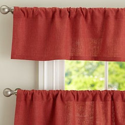 "Emery Linen Cafe Curtain 50 x 36"", Terra Red - Charming in a kitchen or breakfast nook, Emery brings a casual warmth to the room. 50"" wide; available in valance and two curtain lengths Woven of a linen/cotton blend. Lined with cotton. Hangs from the pole pocket or from Clip Rings (sold separately). Valance and curtain sold separately. Dry-clean. Imported."