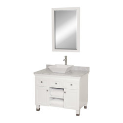 """Wyndham - Premiere 36"""" Bathroom Vanity Set - White - A bridge between traditional and modern design, and part of the Wyndham Collection Designer Series by Christopher Grubb, the Premiere Single Vanity is at home in almost every bathroom decor, blending the simple lines of modern design like vessel sinks and brushed chrome hardware with transitional elements like shaker doors, resulting in a timeless piece of bathroom furniture.; White Finish; Constructed of solid, environmentally friendly, low emissions wood, engineered to prevent warping and last a lifetime; Solid marble counter - White Carrera; Soft-close drawer glides; Soft-close doors; Square White Porcelain Sink; Includes matching mirror; Pre-drilled for single hole faucet, but can be drilled on-site for three hole faucets; Dimensions: Vanity 36 x 22-1/2 x 36 (including sink); Mirror 24-1/4 x 36-1/4"""