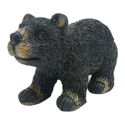 Alpine Fountains - Black Bear Garden Statue - Made of Fiberglass. 1 Year Limited Warranty. Assembly Required. Overall Dimensions: 7 in. L x 4 in. W x 5 in. H (0.81 lbs)These cute black bear statuaries will add character to your garden, patio or home. These hand crafted statues give the look of real black bears with features so life like, it will be as if a real black bear had wandered in to your garden.