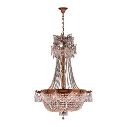 """Worldwide Lighting - Winchester 12 Light French Gold Finish Clear Crystal Chandelier 36"""" x 50"""" Large - This stunning 12-light Chandelier only uses the best quality material and workmanship ensuring a beautiful heirloom quality piece. Featuring a cast aluminum base in French Gold finish and all over clear crystal embellishments made of finely cut premium grade 30% full lead crystal, this chandelier will give any room sparkle and glamour. Worldwide Lighting Corporation is a privately owned manufacturer of high quality crystal chandeliers, pendants, surface mounts, sconces and custom decorative lighting products for the residential, hospitality and commercial building markets. Our high quality crystals meet all standards of perfection, possessing lead oxide of 30% that is above industry standards and can be seen in prestigious homes, hotels, restaurants, casinos, and churches across the country. Our mission is to enhance your lighting needs with exceptional quality fixtures at a reasonable price."""