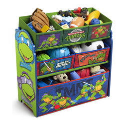 Delta Enterprises Ninja Turtles Multi Bin Storage Toy Organizer - Teach your little one that organization can be fun with the Ninja Turtle Multi-Bin Toy Organizer. The sturdy fabric bins are perfectly sized to keep accessories, toys, books, art supplies and more stored away in style. Features bold cheerful colors and an ultra cool Ninja Turtle inspired design that will get your little one excited about cleaning up.Makes a great addition to any room in your home.