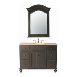 """Stufurhome - 48"""" Alvina Single Sink Vanity with Travertine Marble Top and Mirror - A contemporary take on classic design, the 48"""" Alvina Single Sink Vanity enhances any space, from traditional to modern. The sleek lines of the dark brown cabinet are a harmonic blend with the creaminess of the Travertine Marble Top. Six utility drawers and a double cabinet offer ample storage, while the included mirror helps you create cohesive styling in your bathroom space. Dimensions: 48 in. x 22 in."""