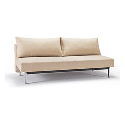 "Innovation USA - ""Innovation USA"" Sly Sleek Light Khaki Sofa Bed with Chrome Legs - Start to create a new living room with this wonderful ""Innovation USA"" Sly Sleek Light Khaki Sofa Bed with Chrome Legs. It's made in a modern style with high quality materials. It can be used in two positions sofa and sofa bed. Light Khaki finish will go well with any furniture. It features chrome legs.    Features:"