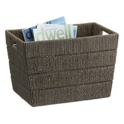 Kabud Magazine Basket - Lampakanay fibers are tightly woven into an open rectangle with cut-out bin handles to store magazines or provide small-space storage. Banded weave creates modern geometric pattern, accented with a grey glossy finish.