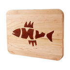 Kentucky Cutting Boards - Appalachian Maple Fish Bones Classic Board - When was the last time you caught a live one in the blissful solitude of the fresh morning air? Bring that peaceful feeling home with this maple cutting board with inlaid fish design. It's especially great for households seeking an attractive way to separate animal from vegetable cutting boards.