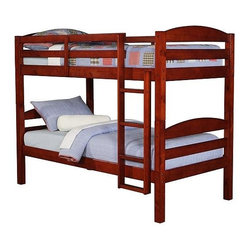 Walker Edison - Twin over Twin Solid Wood Bunk Bed - Cherry - Made of Solid Wood. Pictured in Cherry. Stylish contemporary design. Attractive solid wood finish. Easily and safely separates into 2 twin beds. Conforms to the latest consumer product safety standards. Ideal space-saving design. Maximum recommended upper mattress thickness of 8 in.. Sturdy construction - holds 250 lbs. on top or bottom level. Does NOT include mattresses or bedding. Ships Ready-To-Assemble . Assembly instructions with online support and toll-free number available. 65 in. H x 80 in. W x 42 in. DElegance and function combine to give this contemporary wood bunk bed a striking appearance. The design gives a stylish modern look crafted with beautiful solid wood. Designed with safety in mind, the bed includes full length guardrails and a sturdy integrated ladder. Great for any space-saving design needs. Unlike other twin bunk beds, this bed also converts into 2 twin beds.. NOTE: ivgStores DOES NOT offer assembly on loft beds or bunk beds. Bunk Bed Warning. Please read before purchase.