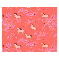 Pop & Lolli - Bareback Riding Wallpaper, Orange - Horses from Sarah Jane's Wee Wander fabric collection. See also the Bareback Riding art print as a coordinating design.