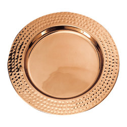 Old Dutch - Old Dutch Decor Copper Hammered Rim 13-inch Charger Plates (Set of 6) - This Old Dutch Decor Copper Hammered Rim Charger Plates Set creates an elegant table top for a special occasion or for displaying favorite dishes. The hand-embossed charger plates come in a set of six.