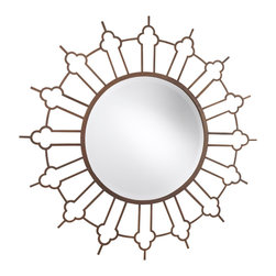 French Heritage - Marrakesh Mirror, Rough Rust - Fetching wall mirror is a study in contrasts, with the glassy-smooth perfection of a circle surrounded by a radiating frame.