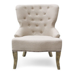 Library Chair, Ivory - The natural wood legs of this accent chair make it a favorite of mine. The tufting is an added bonus.