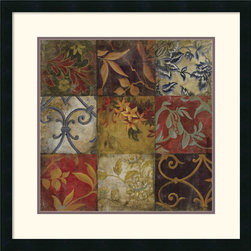 Amanti Art - Floral Mosaic V Framed Print by John Douglas - With its subtle floral patterns and cascading layers of visual texture, this image offers understated elegance to just about any room.