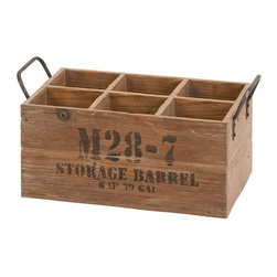 Woodland Imports - Woodland Imports Spezia 6 Bottle Wood Wine Crate Multicolor - 51662 - Shop for Wine Bottle Holders and Racks from Hayneedle.com! The Woodland Imports Spezia 6 Bottle Wood Wine Crate offers sturdy storage for your favorite wines. Constructed of solid hardwood with a natural weathered finish this six-pack piece features a charming warehouse-style stamp and rugged metal handles.