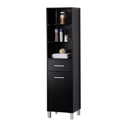 """Fresca - Fresca Espresso Bathroom Linen Side Cabinet w/ 3 Open Shelves - Dimensions:  15.75""""W x 13.75""""D x 63""""H. Materials:  Solid Wood Frame, MDF Panels. 3 Open Shelves and 1 Pull Out Drawer. 1 Storage Area w/ Soft Closing Door. . . . . This elegant side cabinet comes with an Espresso finish.  It features 3 open shelves, 1 pull-out drawer and 1 storage area with soft closing door.  The handles are made with stainless steel."""