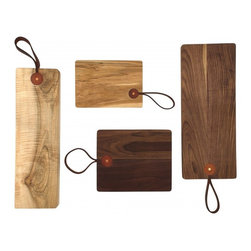 Leather Strap Cutting Boards - I like to keep a few good cutting boards with my picnic gear.