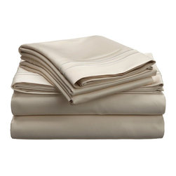 "Egyptian Cotton 800 Thread Count Embroidered Sheet Set - Twin XL - Ivory/Ivory - Bring a touch of elegance to your bedroom with this Egyptian Cotton 800 Thread Count Embroidered Sheet Set. This sheet set features a minimalistic but magnificent design consisting of embroidered colored lines atop sateen solid colored fabric creating an updated look to a classic design. Each set includes (1) Fitted Sheet: 39""x80"", (1) Flat Sheet: 66""x100"", and (2) Pillowcases: 20""x30""."