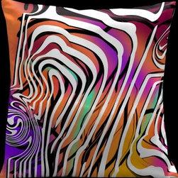 Lama Kasso - Contempo Orange with Color Mix 18 x 18 Satin Pillow - -Satin Lama Kasso - 51