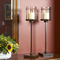 Castilian Tall Pillar Candleholder - Show stoppers on a mantle or grand piano, these slim holders are twenty nine inches of slight height in rust finished iron with hammered glass. Exquisite!
