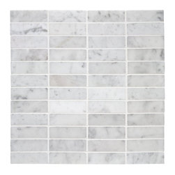 Stacked Carrara Marble Mosaic - Love the modern interpretation of a classic - stacked Carrara marble would work great in a modern or vintage bath, or as a backsplash in a kitchen.