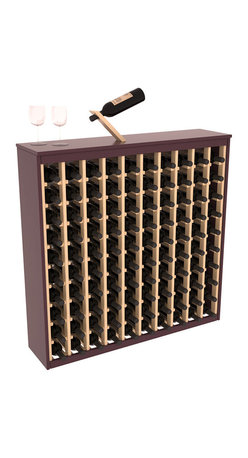 Wine Racks America - Two Tone 100 Bottle Deluxe Wine Rack in Pine, Burgundy Stain & Natural + Satin - Styled to appear as wine rack furniture, this wooden wine rack will match existing decor while storing 100 bottles of wine. Designed to look like a freestanding wine cabinet, the solid top and sides promote the cool and dark storage area necessary for aging wine properly. Your satisfaction and our racks are guaranteed. All Two-Tone racks include a professional grade eco-friendly satin finish and come with a free matching magic bottle balancer.