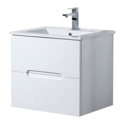 """Inolav - Wall Mount Bathroom Vanity Elton 24"""" with Porcelain Sink Top, Matte White - With contemporary and clean lines the Elton bathroom vanity collection is the perfect combination of beautiful designer style and great practicality. It features an abundance of soft close drawers for easy and convenient access of the everyday toiletries. The Elton vanity elegantly floats off the floor to provide openness in tight spaces."""