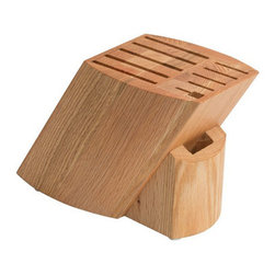 Chef Works - Chef Works Ken Onion Rain Oak Knife Block - The unique Ken Onion knife block has 11 slots and is made from American Red Oak. The block sits at an angle that promotes edge retention when storing knives, allowing them to rest on their spine, rather than their edge.